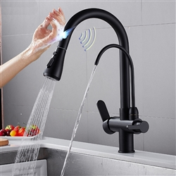 BathSelect 3 Way Pull Out Intelligent Touch Kitchen Sink Faucet in Matte Black