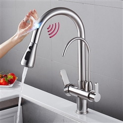 New Brushed Nickel Touch Kitchen Faucet Deck Mount Swivel Dual Function Tap