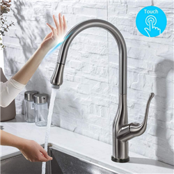 BathSelect Kitchen Faucet With Pull Down Sprayer with Touch Activated Single Handle in Brushed Nickel