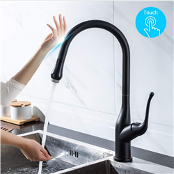 BathSelect Kitchen Faucet With Pull Down Sprayer with Touch Activated Single Handle in Matte Black