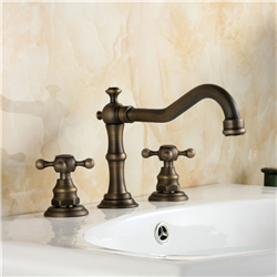 Crimea Antique Brass Dual Handled Bathroom Sink Faucet