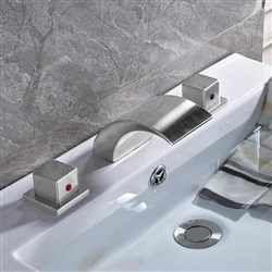 Quito Brushed Nickel Deck Mounted Double Handled Bathtub Faucet.