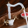 Calabria Brass Bathroom Sink Faucet with Dual Handle