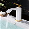 Alea Brass White and Gold Bathroom Sink Faucet