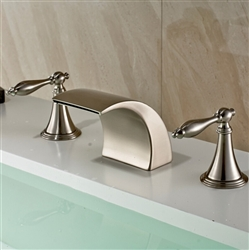 Nîmes Brushed Nickel Double Handle Deck Mounted Widespread Bathtub Faucet