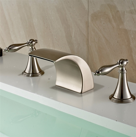 Deck Mount Bathtub Faucet.Nîmes Brushed Nickel Double Handle Deck Mount Bathtub Faucet