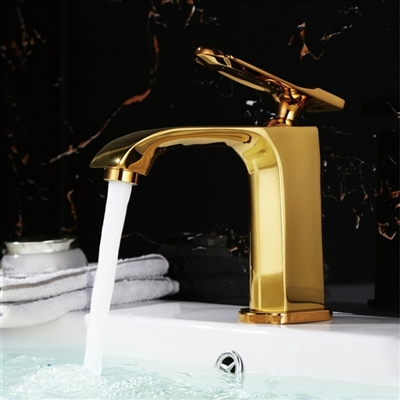 Taras Gold Finish Waterfall Bathroom Sink Faucet