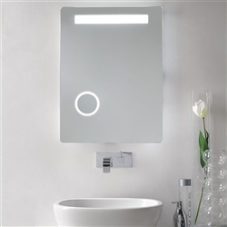 LED Lighted Bathroom Makeup Mirror with Magnifier & Sensor Touch Switch