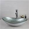 Milan Silver Glass Bathroom Sink Faucet & Drain Combo