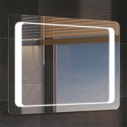 Large Rectangular LED Light Bathroom Makeup Mirror with Defogger & Touch Switch