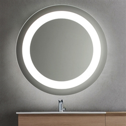 Round LED Lighted Bathroom Makeup Mirror with Defogger & Touch Switch