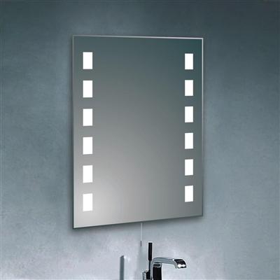 LED Lighted Bathroom Makeup Mirror with Glass Shelf