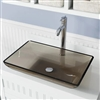 Genoa Taupe Colored Glass Vessel Bathroom Sink