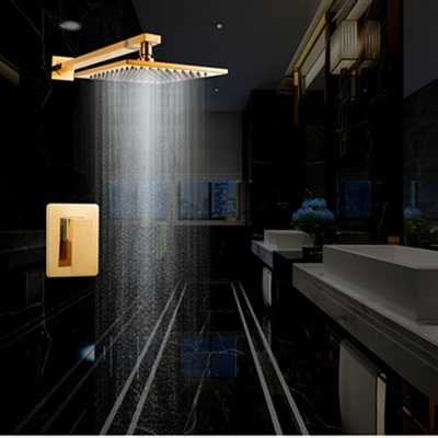 Naples Wall Mounted Gold Rainfall Showerset