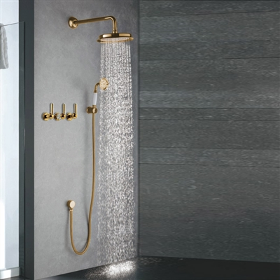 Naples Luxury Gold Shower Set with Hand Shower & Mixer