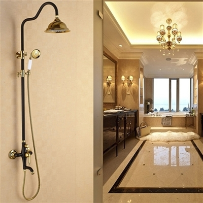 Shop BrasÃlia Gold Shower Set With Hand Shower & Top Brass Spray At ...