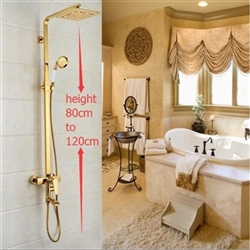 Florence Gold Set with 8 Inch Square Shower Head & Hand Shower