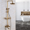 Naples Antique Brass Rainfall Shower Set with Shower Caddy