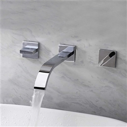 Chrome Plate Bathroom 3pcs Sink Faucet Dual Handles