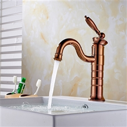 Caen Single Handle Rose Gold Bathroom Sink Faucet