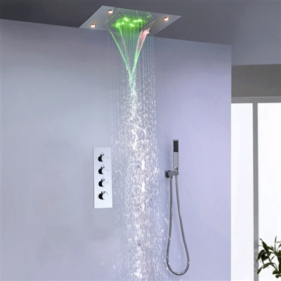"BathSelect 15""*20"" Large LED Shower Shead with Way Mixer & Handshower"