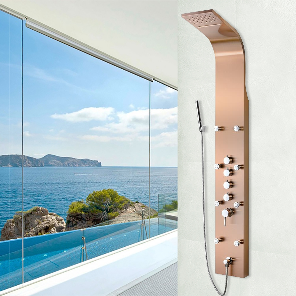 Abrantes Multi-Function Bronze Finish Wall Mount Shower Panel System