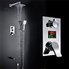 Genoa Wall-Mounted Chrome Finish LED Rainfall Shower Set