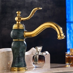 Malta Single Handle Gold Marble Finish Bathroom Sink Faucet
