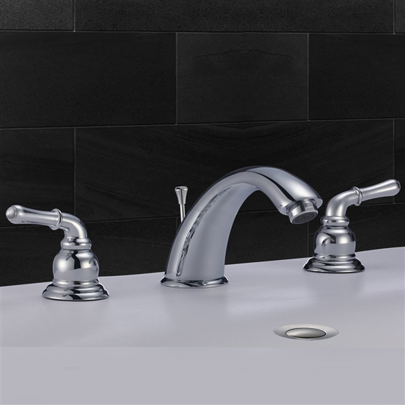 Lyon Dual Handle Solid Brass Bathroom Sink Faucet With Drain