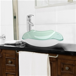 Siena Scalloped Bowl Shaped Tempered Glass Bathroom Sink