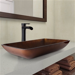 Genoa Rectangular Glass Bathroom Sink with Faucet & Drain