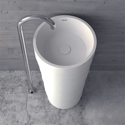 Turin Freestanding Solid Surface Stone Pedestal Sink