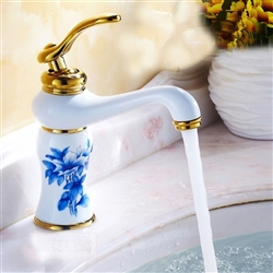 Rouen Single Handle Gold Finish Bathroom Sink Faucet