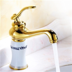Orleans Single Handle Gold Finish Bathroom Sink Faucet