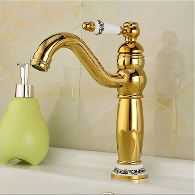 Amiens Gold & Ceramic Single Handle Deck Mounted Bathroom Sink Faucet