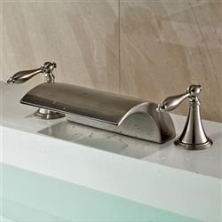 Limoges Deck Mounted Brushed Nickel Double Handled Bathtub Faucet