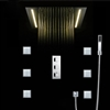 Rectangular Thermostatic LED Shower Set with 4 Inch Jet Body Massage