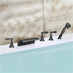 Lyon Triple Handle Solid Brass Bathtub Sink Faucet
