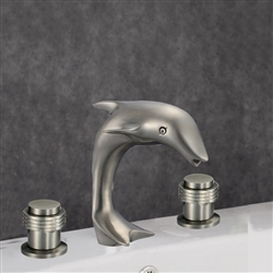 Roman Dolphin Shaped Dual Handle Bathroom Sink Faucet