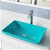 Genoa Turquoise Colored Glass Vessel Bathroom Sink
