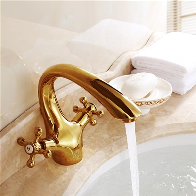 Gironde Antique Double Handle Bathroom Sink Faucet  Gold