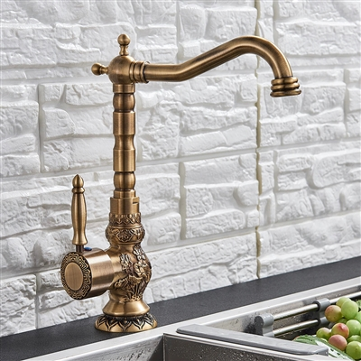 Lucanian Antique Brass Bathroom Sink Faucet