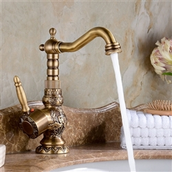 BathSelect Attica Antique Bronze Bathroom Sink Faucet with Hot & Cold Mixer