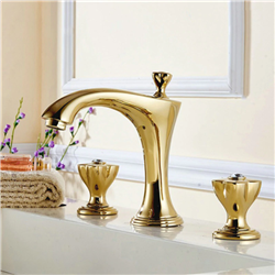 Toulon Dual Handle Gold Finish Bathroom Sink Faucet