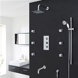 Catania Square Bathroom Shower Set with Rainfall Shower Head & Hand Shower