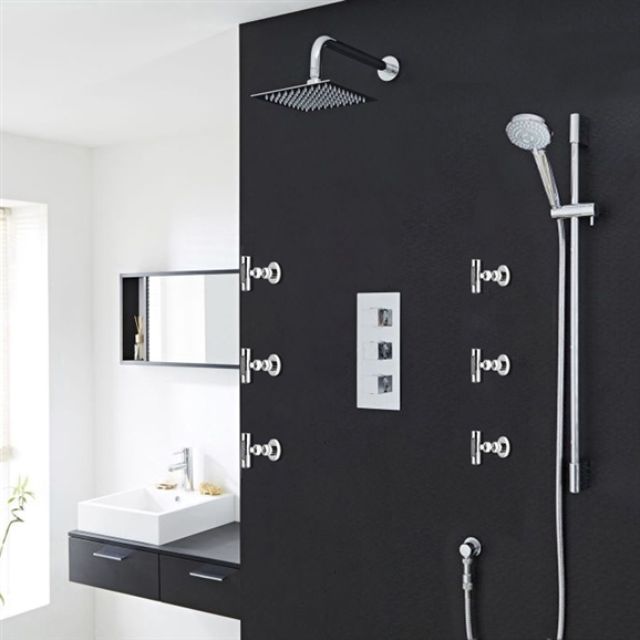 Buy Milan Bathroom Shower Set With Square Rainfall Shower Head ...