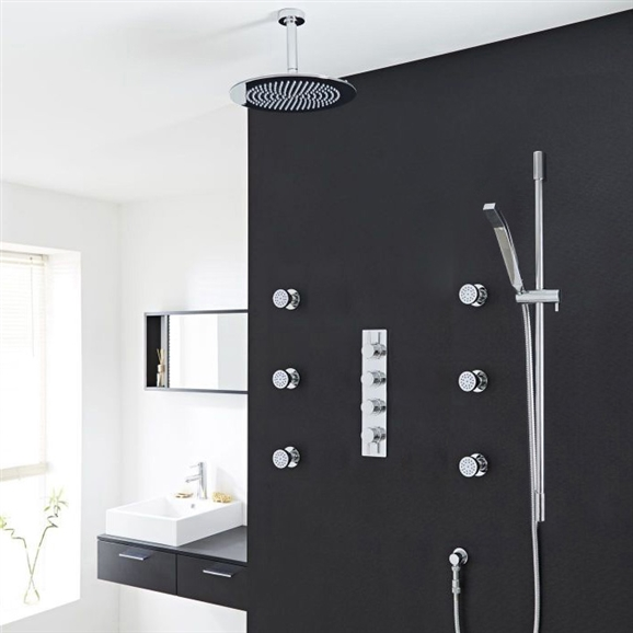 Buy Modena Round Bathroom Shower Set With Rainfall Shower Head ...