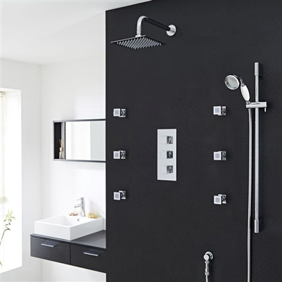 Genoa Square Bathroom Shower Set with Rainfall Shower Head & Hand Shower