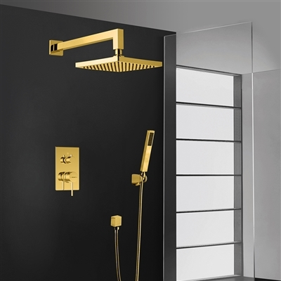 Bravat Wall Mount Gold Square Shower Head With Hand-Held Shower & Mixer