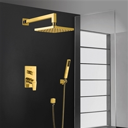 Bravat Elegant Wall Mount Gold Shower Head With Hand-Held Shower & Mixer